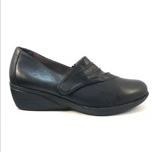 Dansko Aimee Black Leather Wedge Loafer